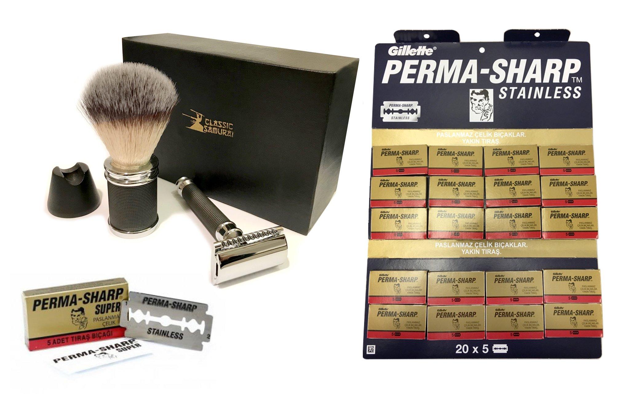 Classic Samurai Men's Shaving Set, Safety Razor,Shaving Brush, Stand & 100 Perma-Sharp Blades