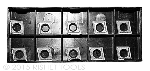 RISHET TOOLS 10164 CCMT 32.51 C5 Uncoated Bright Finish Solid Carbide Inserts Box of 10
