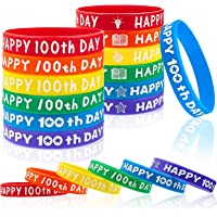 36 Pieces Happy 100th Day Bracelets Colorful Silicone Wristbands Happy Rubber Bracelets for Boy Girl Cute Happy 100th…