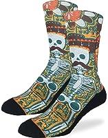 Good Luck Sock Men's Skeleton Mustache Crew Socks - Yellow, Adult Shoe Size 8-13