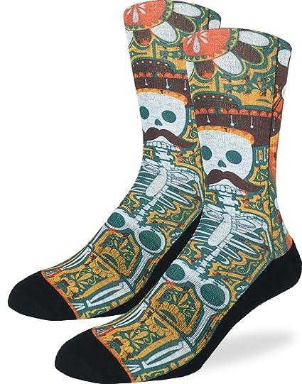 Good Luck Sock Buena suerte calcetines zapatos calcetines tripulación de bigote esqueleto para hombre, color amarillo, talla DE adulto 8 - 13: Amazon.es: ...