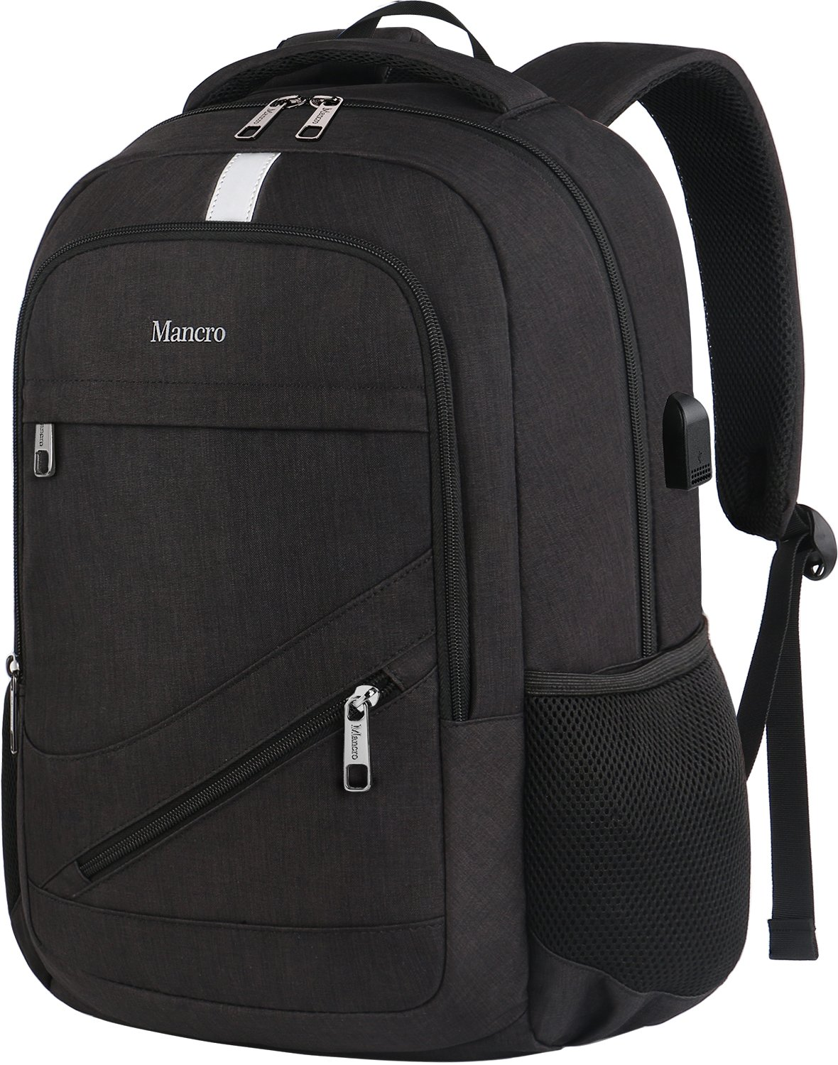 "Laptop Backpack 15.6, Mancro Anti Theft Travel Business Computer Bag For Women Men, Water Resistant Polyester College School Bookbag, Slim Backpack With Usb Charging Port Fit 15.6"" Notebook (Black) by Mancro"