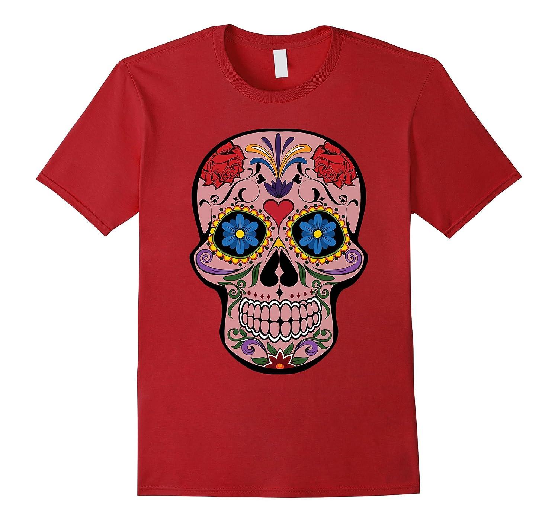34a21584 Sugar Skull T-Shirt Halloween Mexican Dia de Muertos Tshirt-RT ...