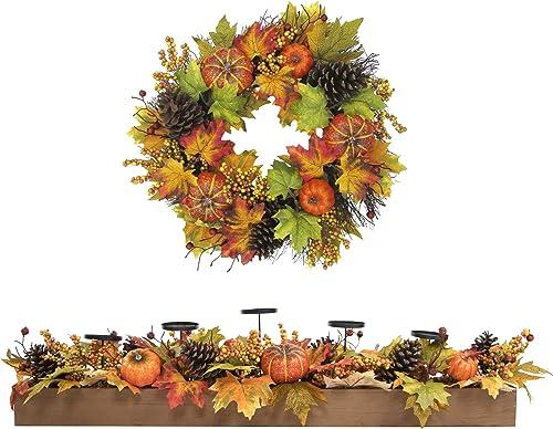 Fraser Hill Farm FFHV002SET-0MLT 42″ Candle Holder and 24″ Wreath Fall Harvest Decor Set