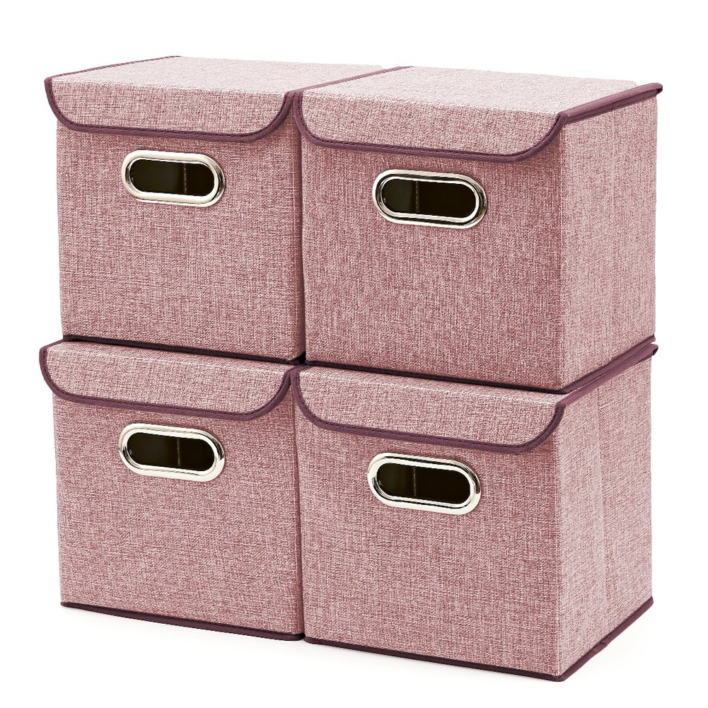 Storage Boxes [4-Pack] EZOWare Linen Fabric Foldable Basket Cubes Organizer Bin Box Containers Drawers with Lid - Wine For Office Nursery Bedroom Shelf by EZOWare