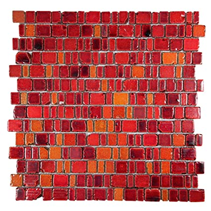 Ice Age Fire Red Rustic Glass Tile   Glass With Hot Red Brick Stone Finish    Perfect For Shower Walls, Kitchen Backsplashes, Floors (4 X 6 Inch  Sample) ...