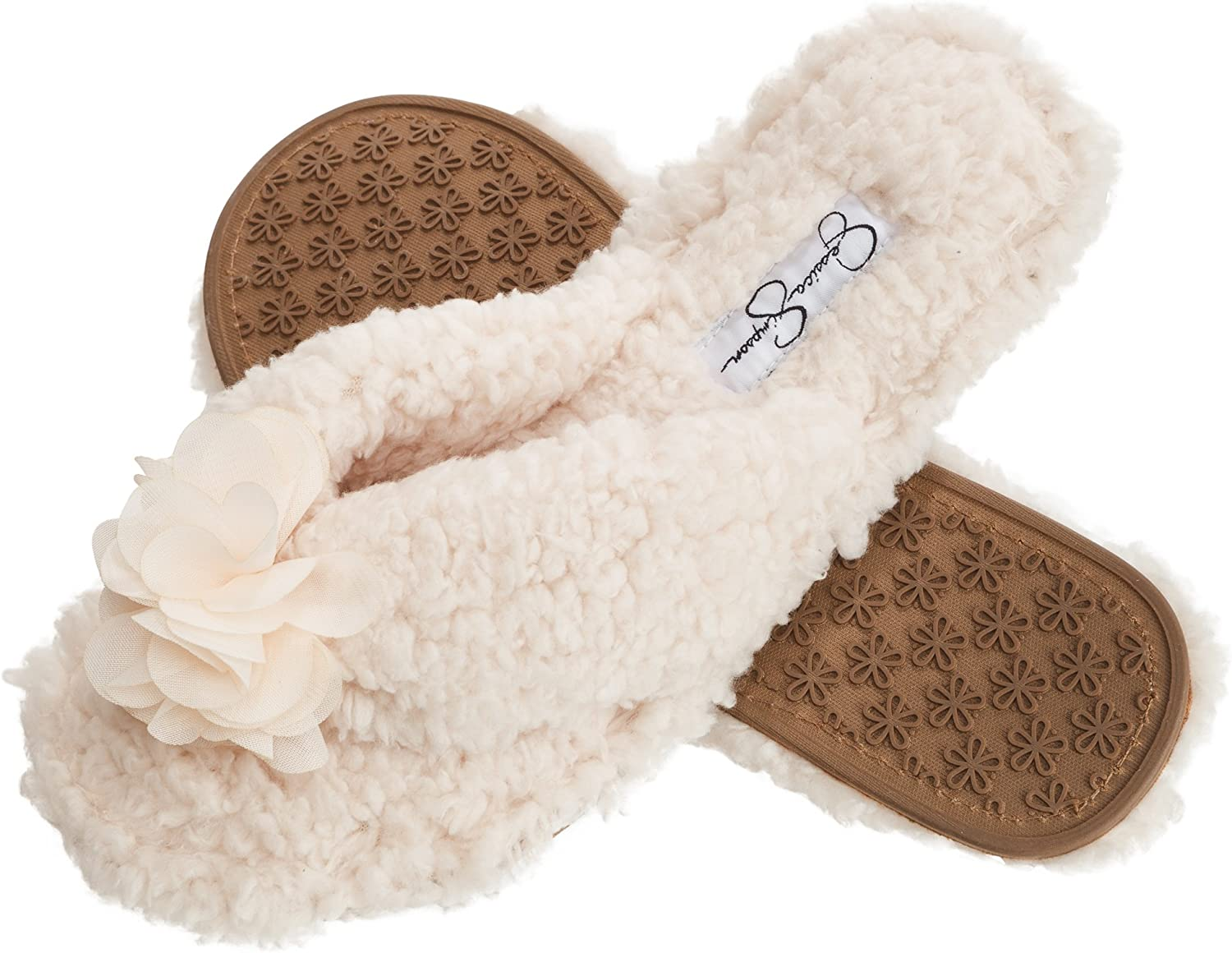 Jessica Simpson Women's Fluffy Pom Thong House Slide on Slippers with Memory Foam
