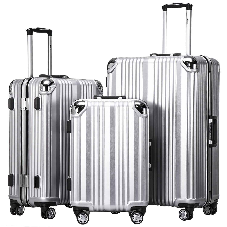 9dc50f5b8bc8 Coolife Luggage Aluminium Frame Suitcase 3 Piece Set with TSA Lock 100% PC  (SILVER)