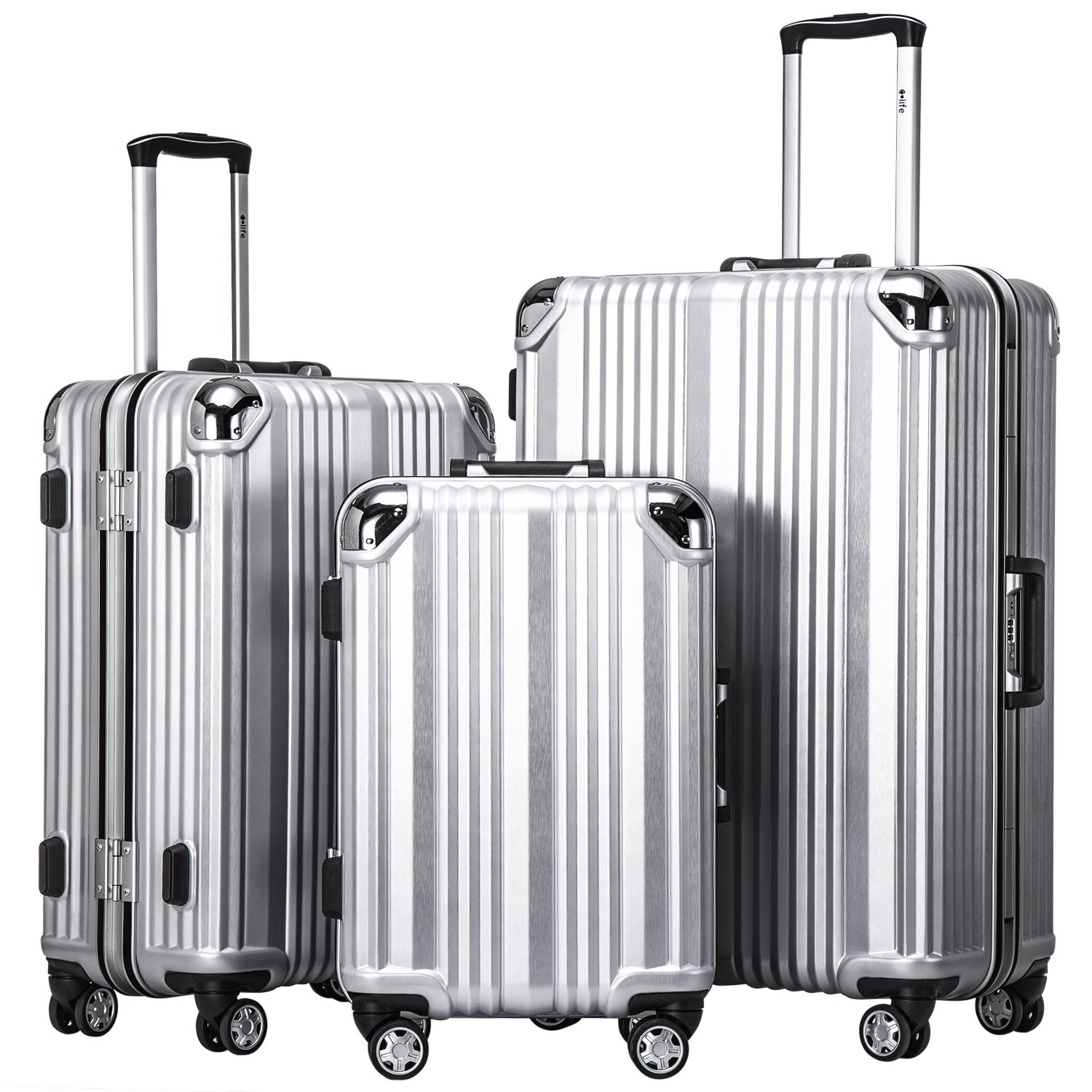Coolife Luggage Aluminium Frame Suitcase 3 Piece Set with TSA Lock 100%PC (SLIVER) by Coolife