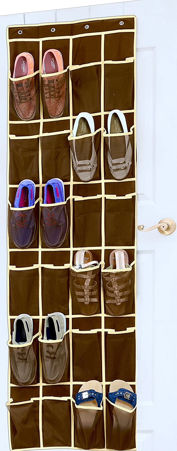 shoe organizer storage over the door hanging 24 pockets brown closet hanger ebay. Black Bedroom Furniture Sets. Home Design Ideas