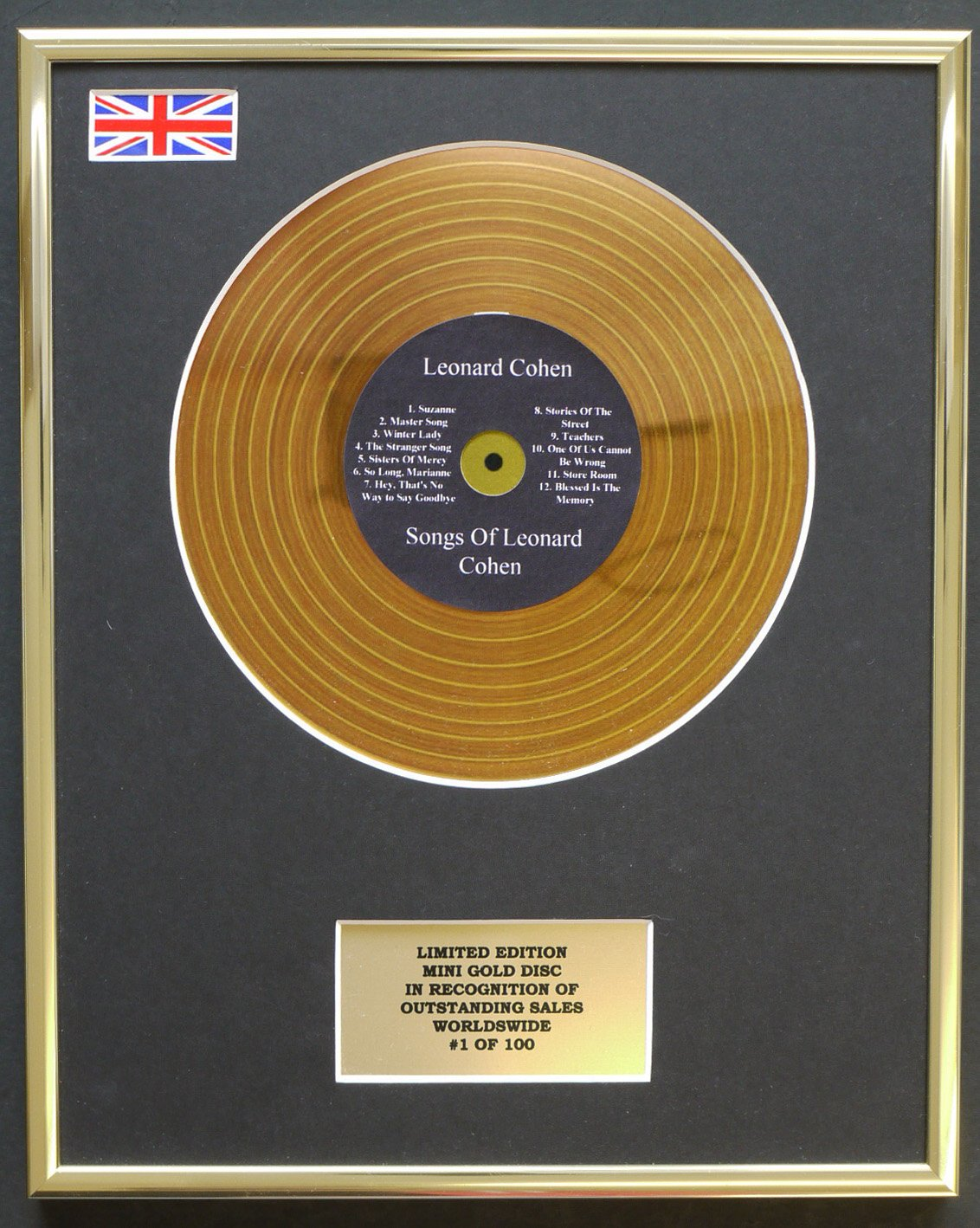 Limited Edition Cd Display LEONARD COHEN//MINI METAL GOLD DISC//EDICI/ÓN LIMITADA//COA//SONGS OF LEONARD COHEN