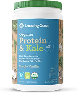product image for Amazing Grass Vegan Protein & Kale Powder: 20g of Organic Protein + 1 Cup Leafy Greens per Serving, Vanilla, 15 Servings