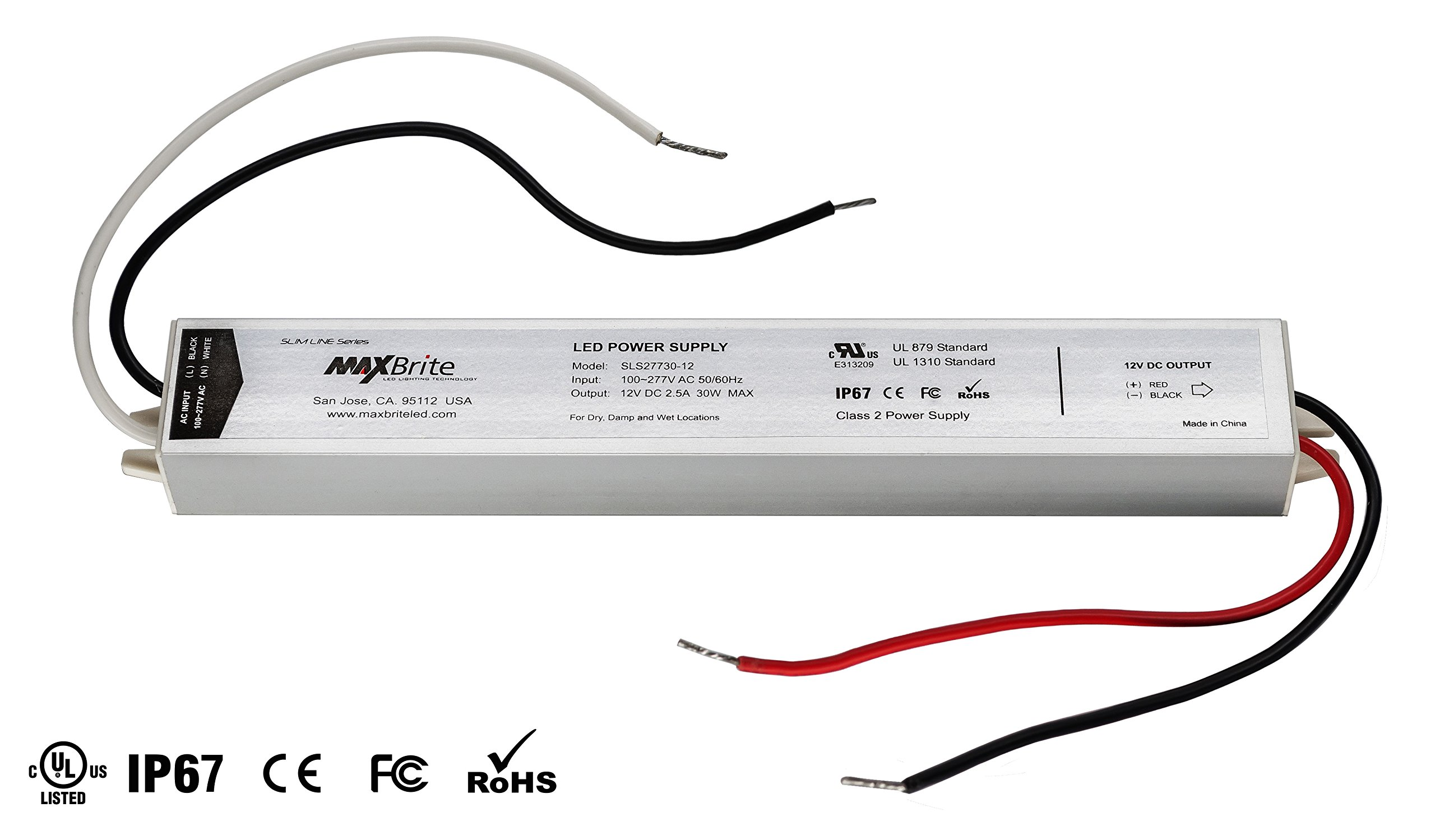 30W LED Power Supply, 12V DC Output, 100-277V AC Input, IP67 Waterproof, UL/cUL Certified, CE, RoHS, Class 2