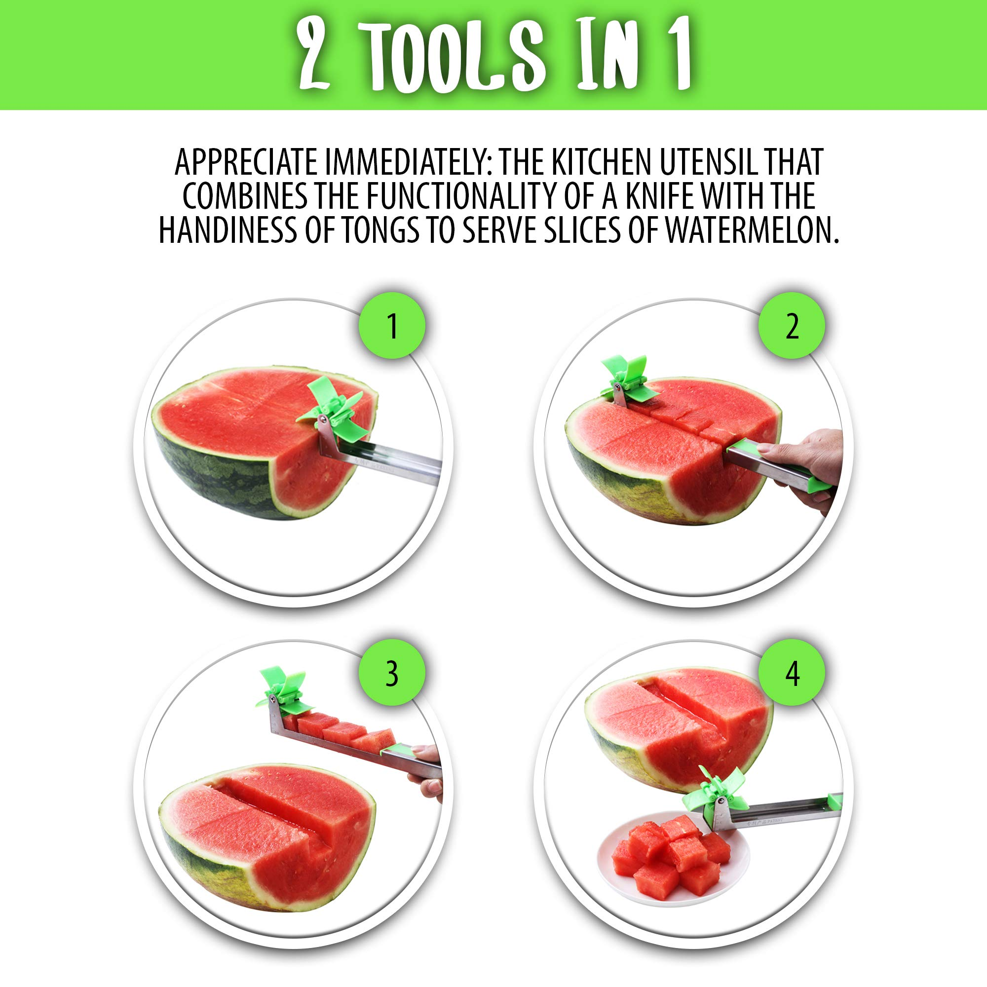 EZ Melon Stainless Steel Watermelon Slicer - Melon and Cantaloupe Fruit Slicer, Carver, Cutter, Knife - Carving and Cutting Tools for Home, Professional Restaurant Chefs - Easy Grip Kitchen Gadgets by Lux&Max (Image #2)