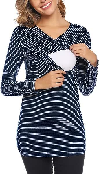 Aibrou Camisetas Lactancia de Manga Larga Camiseta de Lactancia Algodon Camisa de Maternidad Premamá Ropa de Enfermería