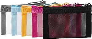 حقائب شبكية بسحاب من باتو، منظم إكسسوارات مستحضرات التجميل التجميلية، مجموعة أدوات الزينة للسفر وحقيبة تخزين, 5 ألوان متنوعة, XS (5 pcs),