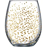 Gold Dots Stemless Wine Glasses (4pk) Holiday Drinking Cups 19oz by Fine Occasion