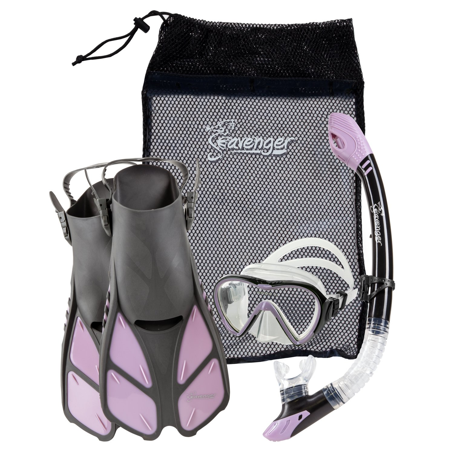 Seavenger Diving Dry Top Snorkel Set with Trek Fin, Single Lens Mask and Gear Bag, S/M - Size 4.5 to 8.5, Gray/Lavender by Seavenger