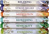 STAMFORD INC. 37322 Premium Aromatherapy Hex Range Incense Sticks - Relaxing, Stress Relief, Meditation, Refreshing, Sensuality & Energising Incense gift pack.