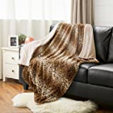 """Leopard Throw Blanket Faux Fur Bed Blanket 60""""x80"""" Light Brown, Super Soft & Warm, Reservible with Flannel Fleece, Shaggy Fuzzy Printed Blanket"""