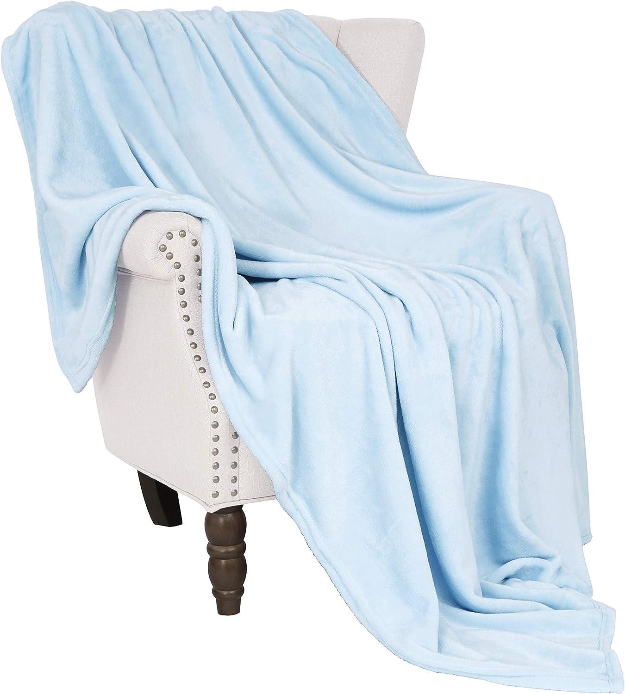 "Exclusivo Mezcla Soft Flannel Fleece Velvet Plush Throw Blanket – 50"" x 60"" (Ice Blue)"