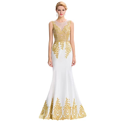 Grace Karin® Womens Sleeveless Mermaid Wedding Dress with Trains Golden Appliques Ball Gown