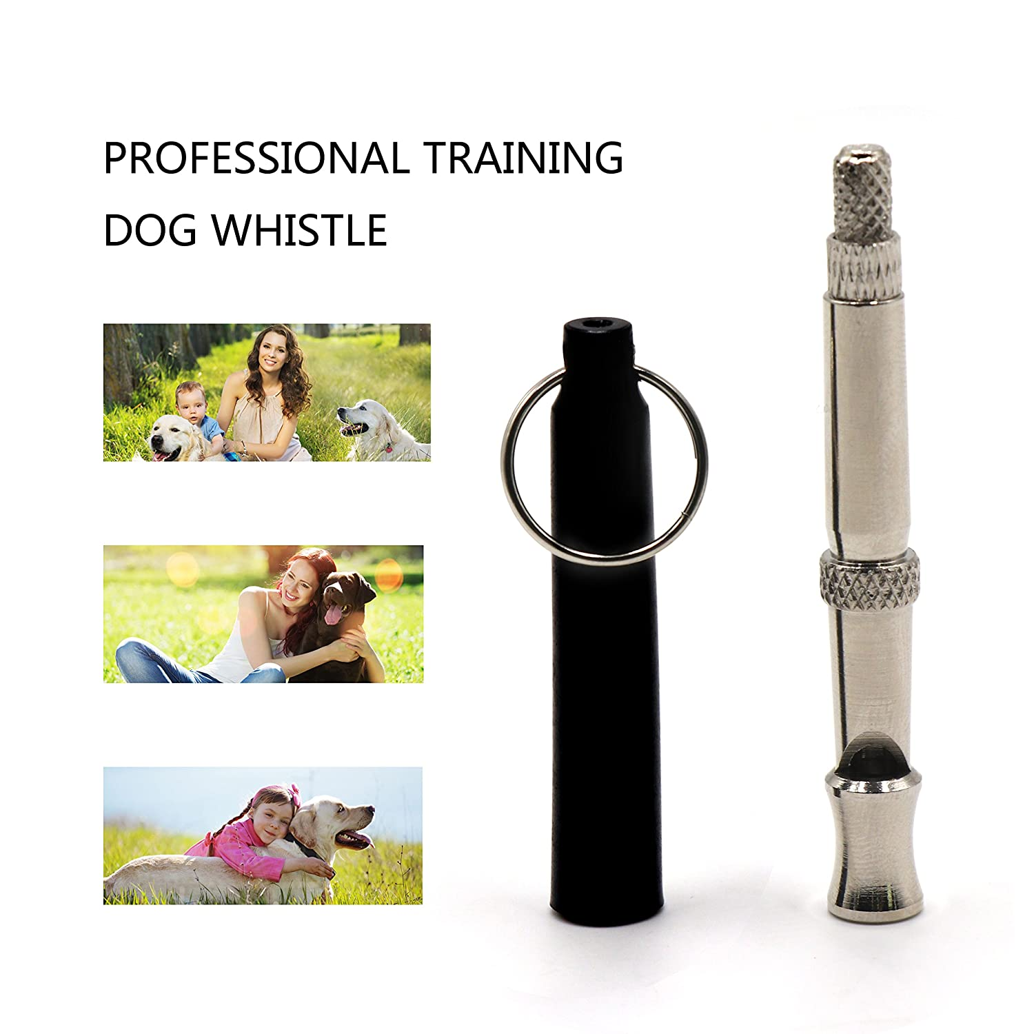 FRETOD Professional Ultrasonic Dog Training Whistle 2 Pack with Clicker /& Lanyard Train Your Dog to Stop Barking