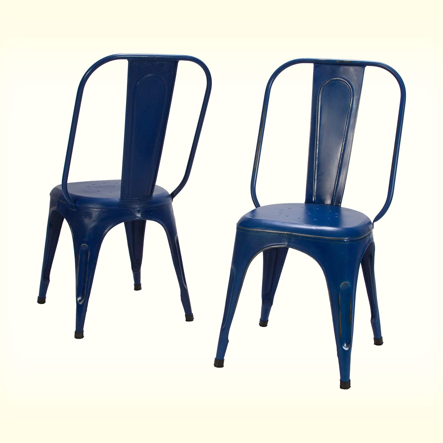Home Elegance Metal Chair, Set of 4, Rustic Blue