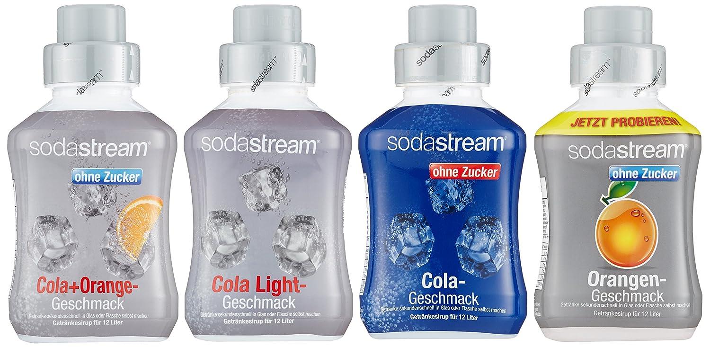 SodaStream 4er Sirup-Packung, Cola ohne Zucker, Orange ohne Zucker ...