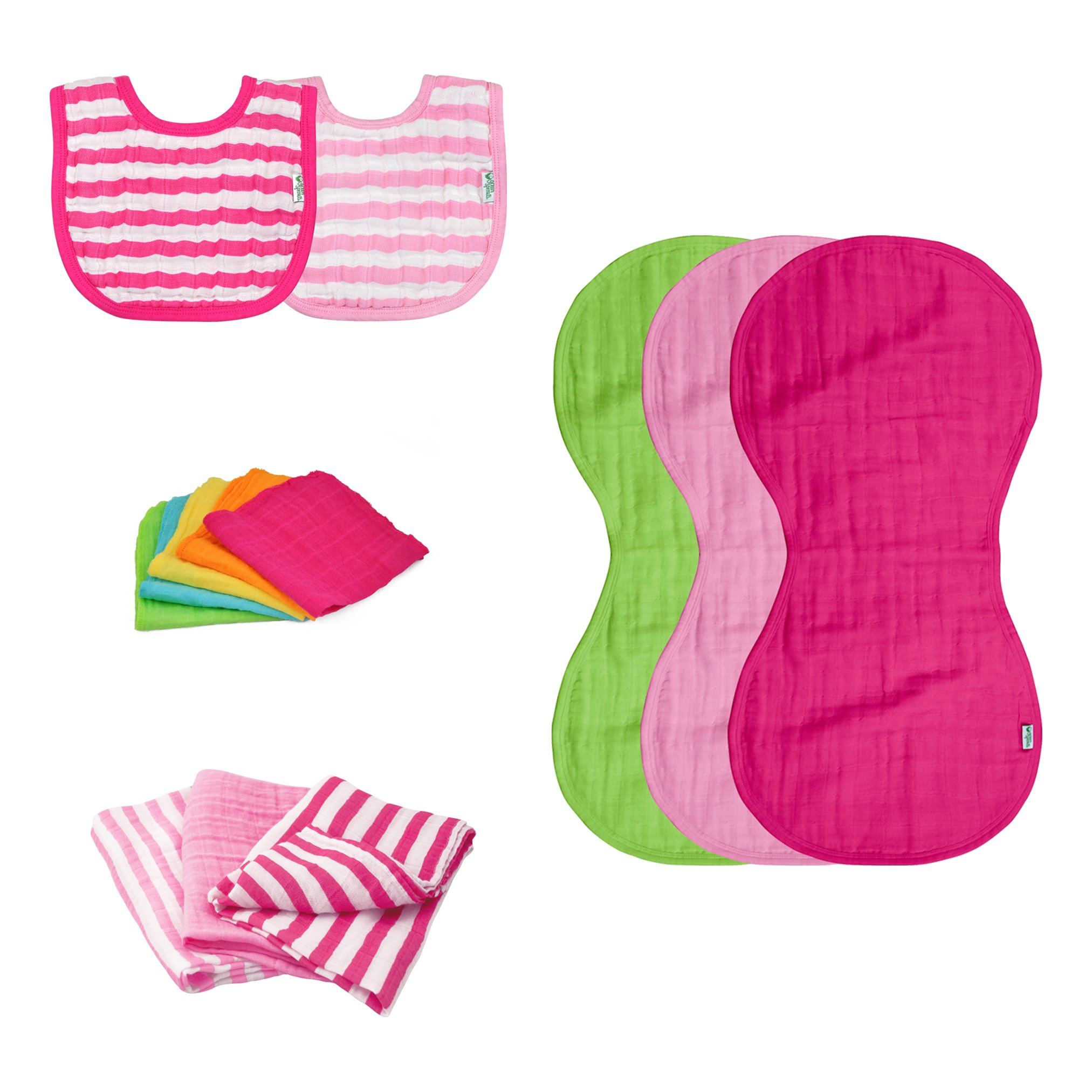 green sprouts Muslin Bibs and Burp Cloths Set made from Organic Cotton, Pink