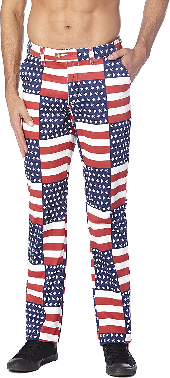 CONCITOR Collection Mens Dress Pants AMERICAN FLAG Design Red White Blue Colors
