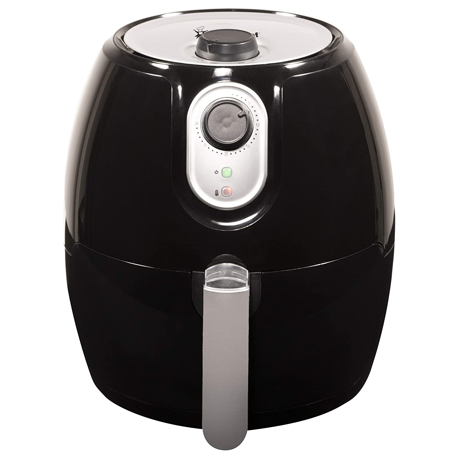 Magic Chef Airfryer 2.6 Quart Compact Snack Sized Oilless Fryer - Manual Control - Dishwasher Safe Basket with Recipe Book Included - MCAF26MB - Black