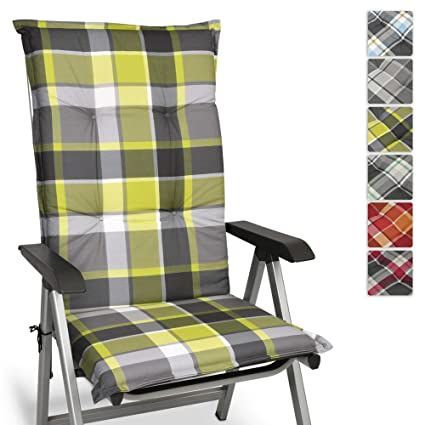 Beautissu Cojín para sillas de Exterior y jardín con Respaldo Alto Sunny GR Verde 120x50x6 cm tumbonas, mecedoras, Asientos cómodo Acolchado ...