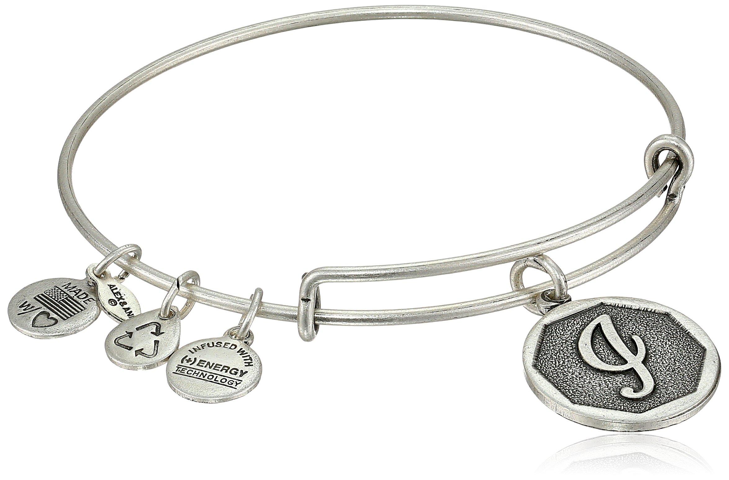 Alex and Ani Rafaelian Silver-Tone Initial I Expandable Wire Bangle Bracelet, 2.5'' by Alex and Ani (Image #1)