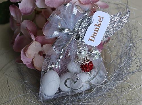 Gastgeschenk Engel Strass Mandeln Organzasäckchen Für Hochzeit Taufe Kommunion Konfirmation Handmade