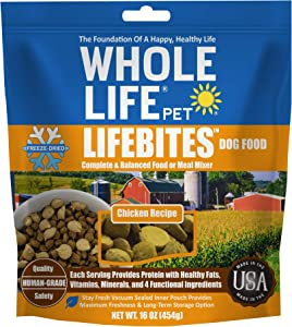 Whole Life Pet LifeBites Human Grade Freeze Dried Dog Food Real Chicken Recipe, 16 Ounce