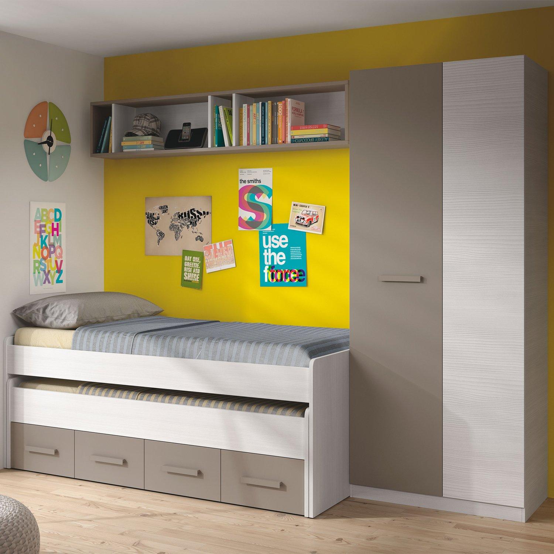 Habitdesign 1S7432K - Cama doble juvenil 2 camas y 2 cajones ...