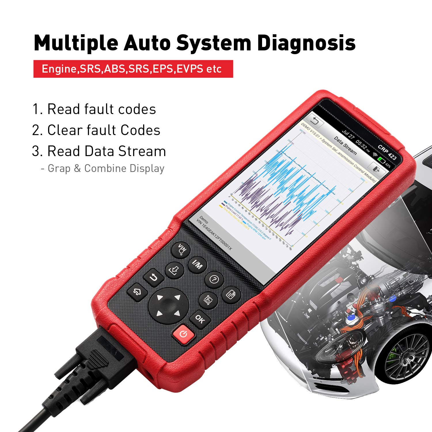 LAUNCH CRP423 OBD2 Diagnostic Scan Tool ENG/TCM/ABS/SRS with Fast VIN  AutoDetect, Android System Online Update-TPMS EL-50448 As Gift