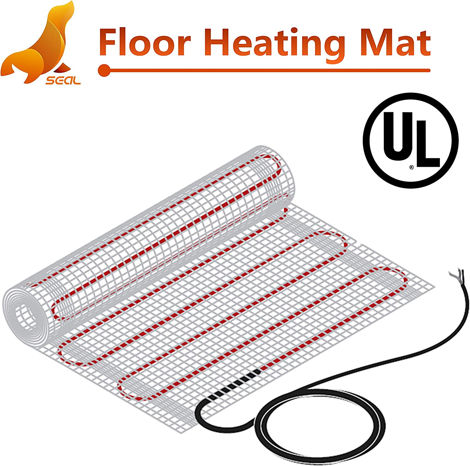 SEAL 100 sqft 120V Radiant Floor Heating Mat for Ceramic, Tile, Mortar, Easy to Install Self-adhesive Floor Heating System Kit