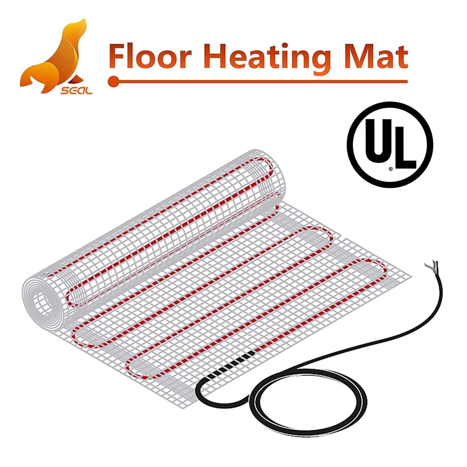 SEAL 20 sqft 120V Radiant Floor Heating Mat for Ceramic, Tile, Mortar, Easy to Install Self-adhesive Floor Heating System Kit