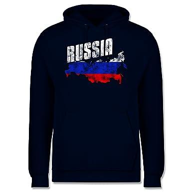Fußball-WM 2018 - Russland - Russia Umriss Vintage - XS - Dunkelblau - JH001
