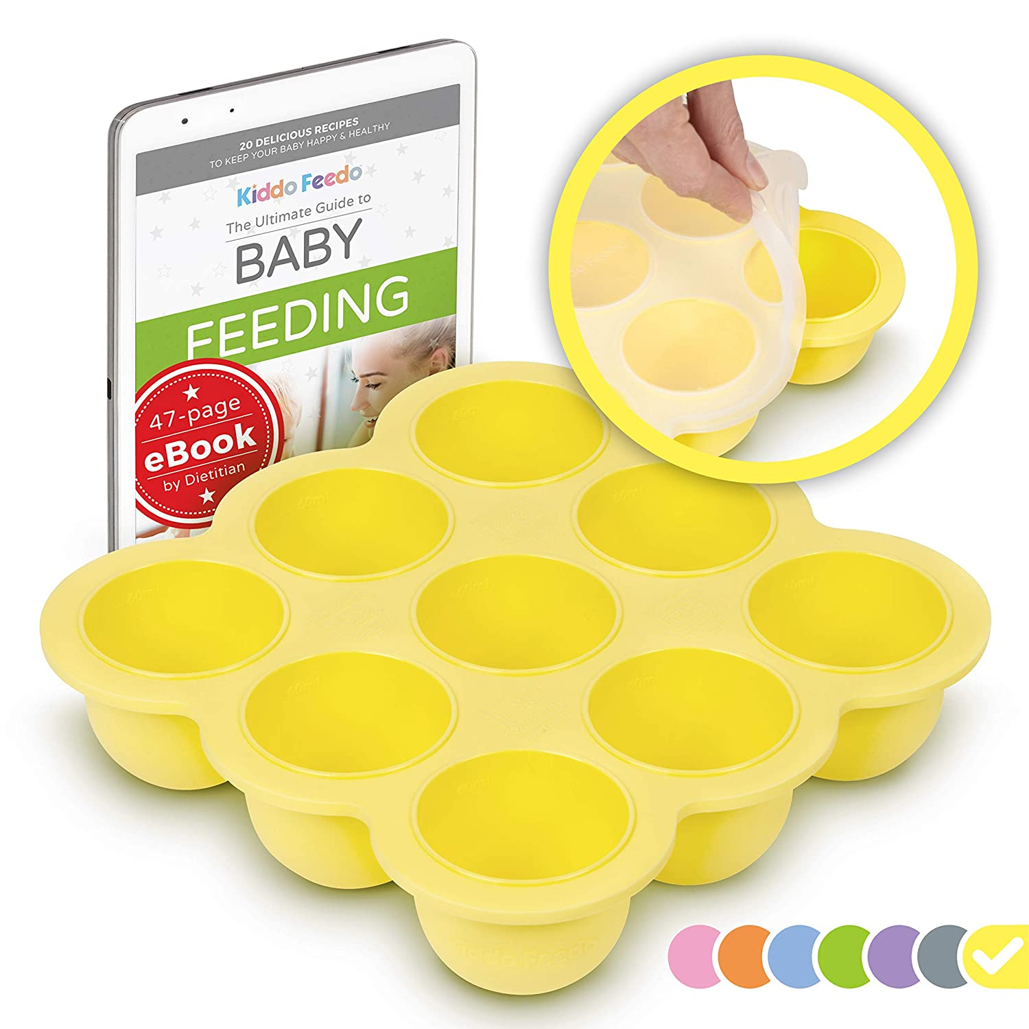 KIDDO FEEDO Baby Food Holder Tray with Silicone Clip-On Lid - Multipurpose Use - Free E-Book by Award-Winning Author/Dietitian - Yellow
