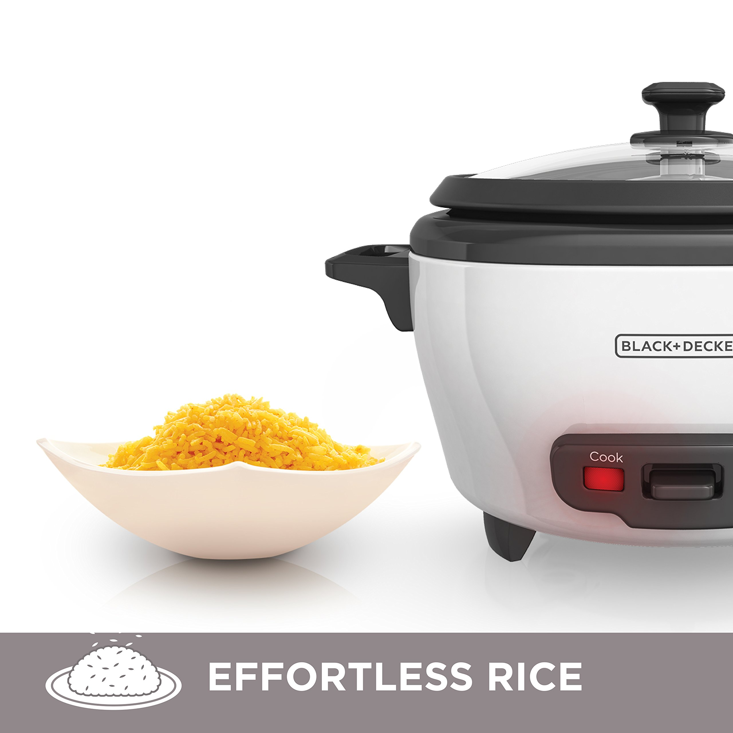BLACK+DECKER RC506 6-Cup Cooked/3-Cup Uncooked Rice Cooker and Food Steamer, White by BLACK+DECKER (Image #4)