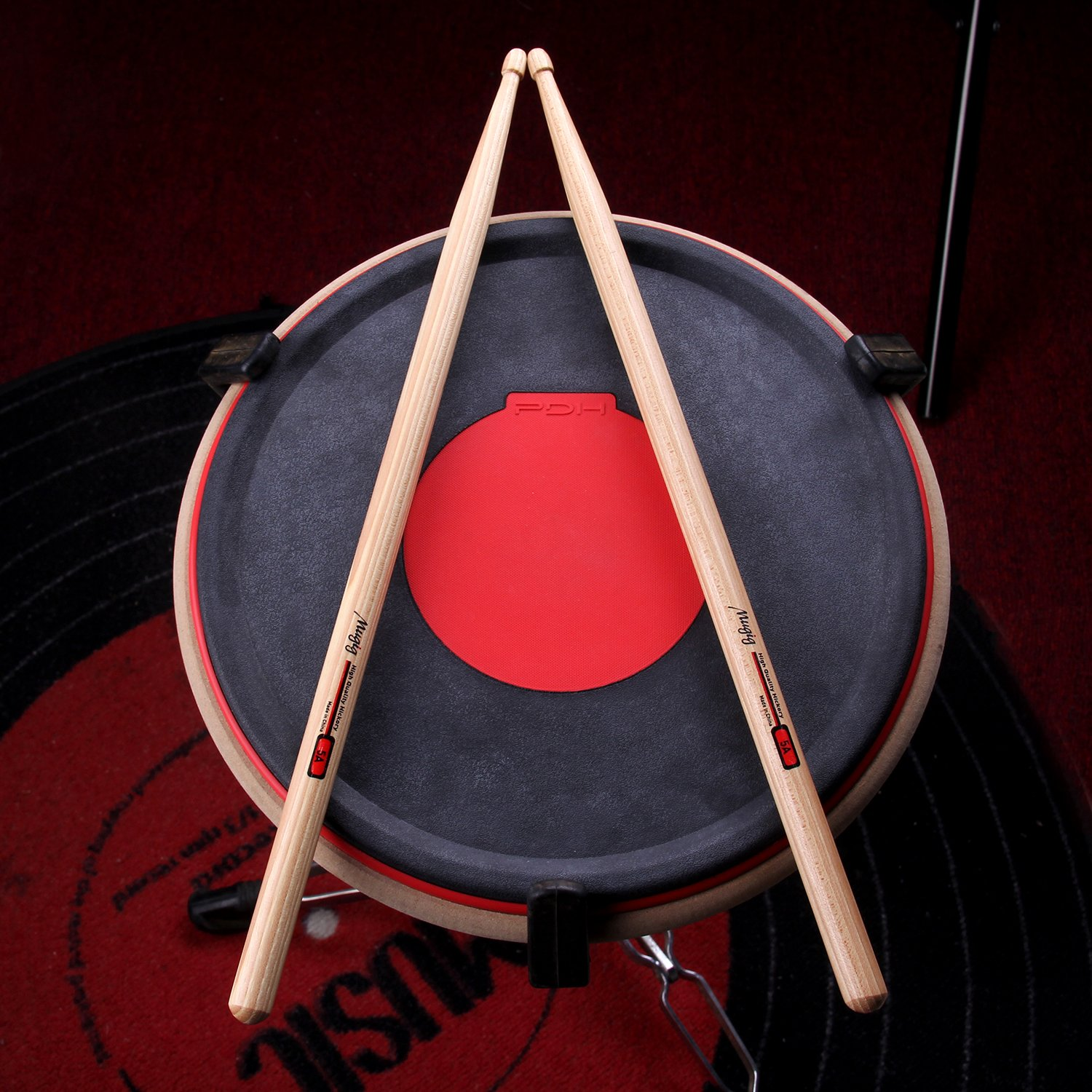 Mugig Drum Pad for Practicing, Unique Design in Red Heart Drum Pad, Combat Practice and Rhythm Guidance