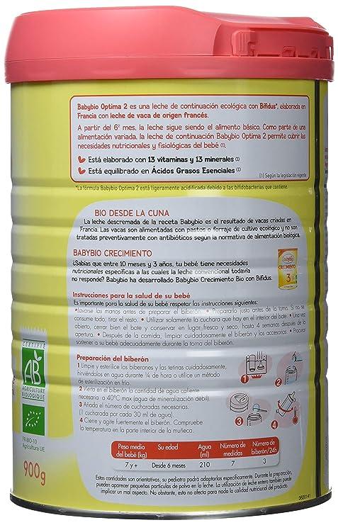BabyBio - Leche 2 Optima Babybio 900 gr 6m+: Amazon.es: Alimentación y bebidas