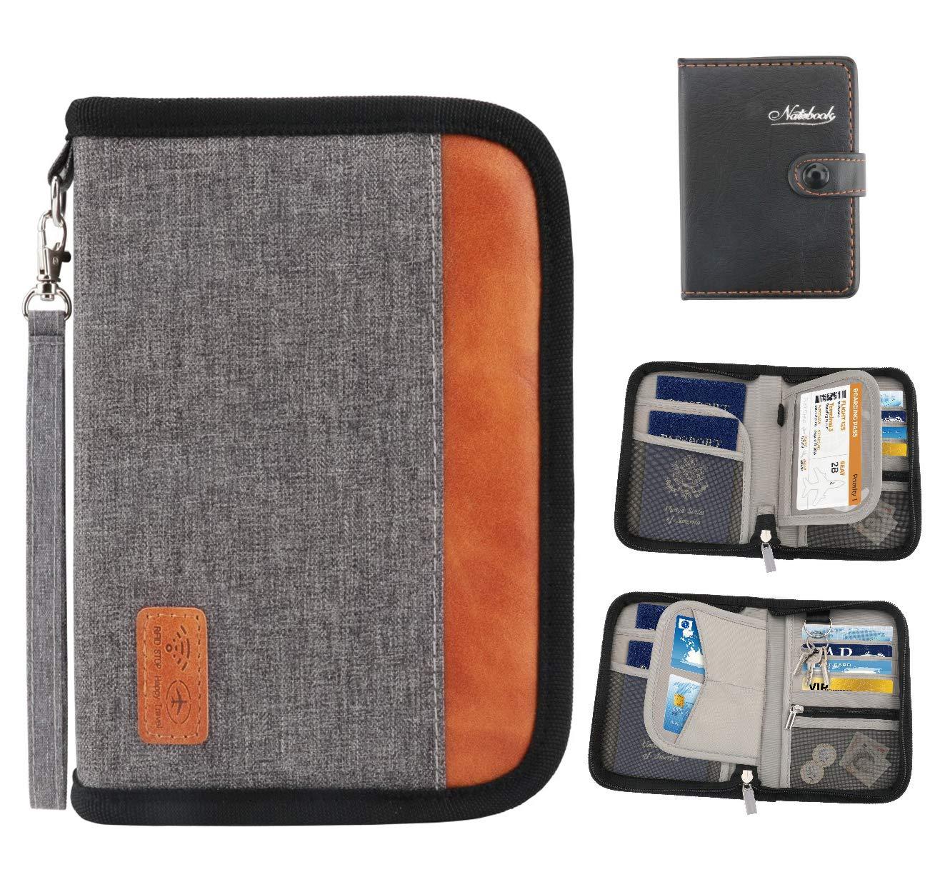 Idefair Portafoglio da viaggio Titolare del passaporto di famiglia, Blocco RFID Custodia impermeabile per documenti per passaporti, carte di credito, biglietti aerei (grigio, 5.1 * 7.1 * 1.5')