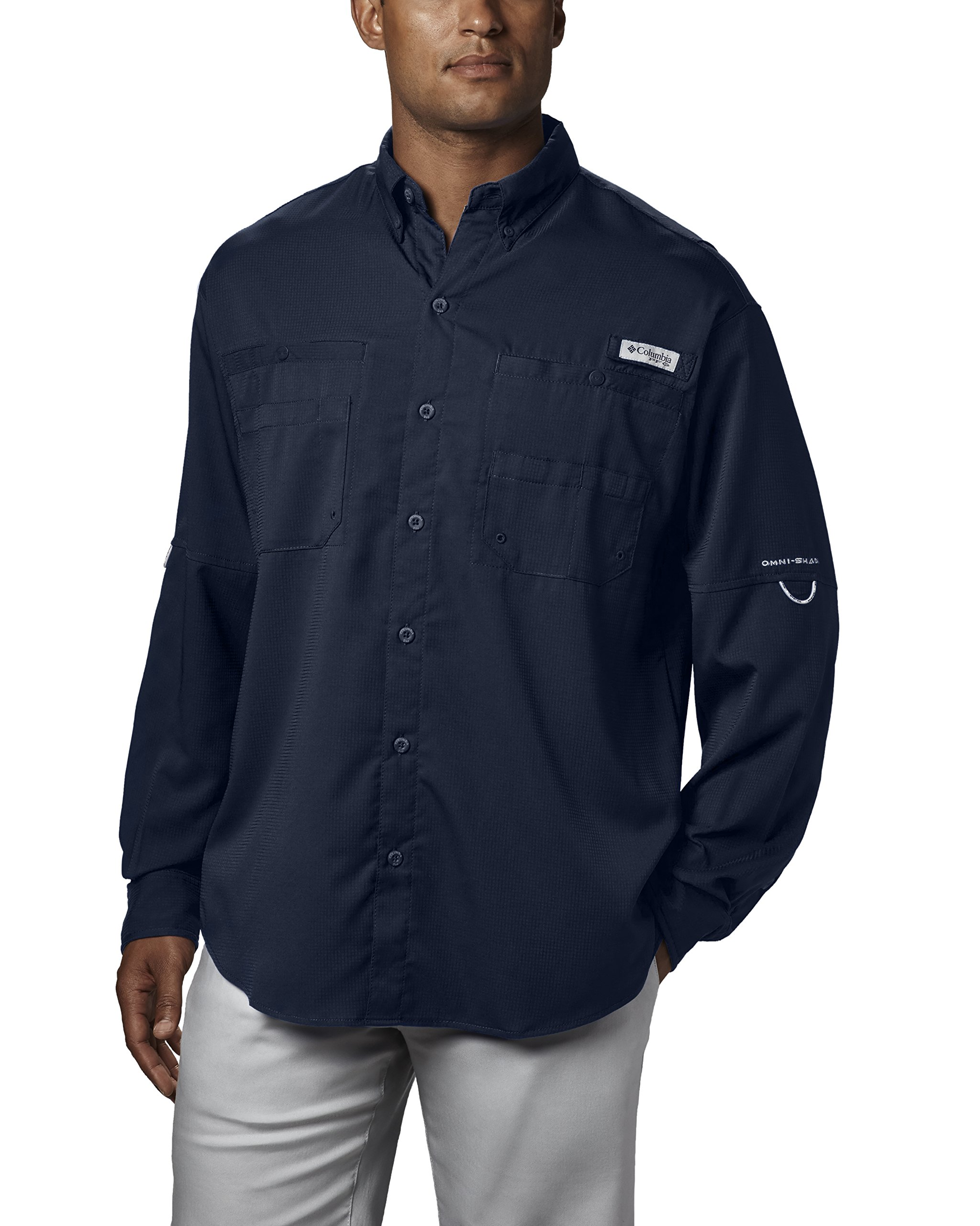 Columbia Men's Plus Tamiami II Long Sleeve Shirt, Collegiate Navy - X-Small
