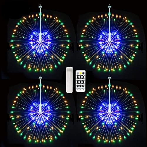 480 LED Starburst Lights, USB Firework Lights Fairy String Lights with USB Rechargeable Battery Operated, Wireless Remote Control 8 Mode Waterproof Outdoor Indoor for Bedroom Ceiling Wedding Christmas
