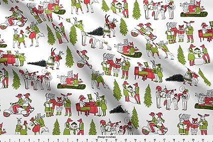 spoonflower christmas fabric christmas woodland christmas tree holiday woodland christmas vintage christmas retro christmas andrea