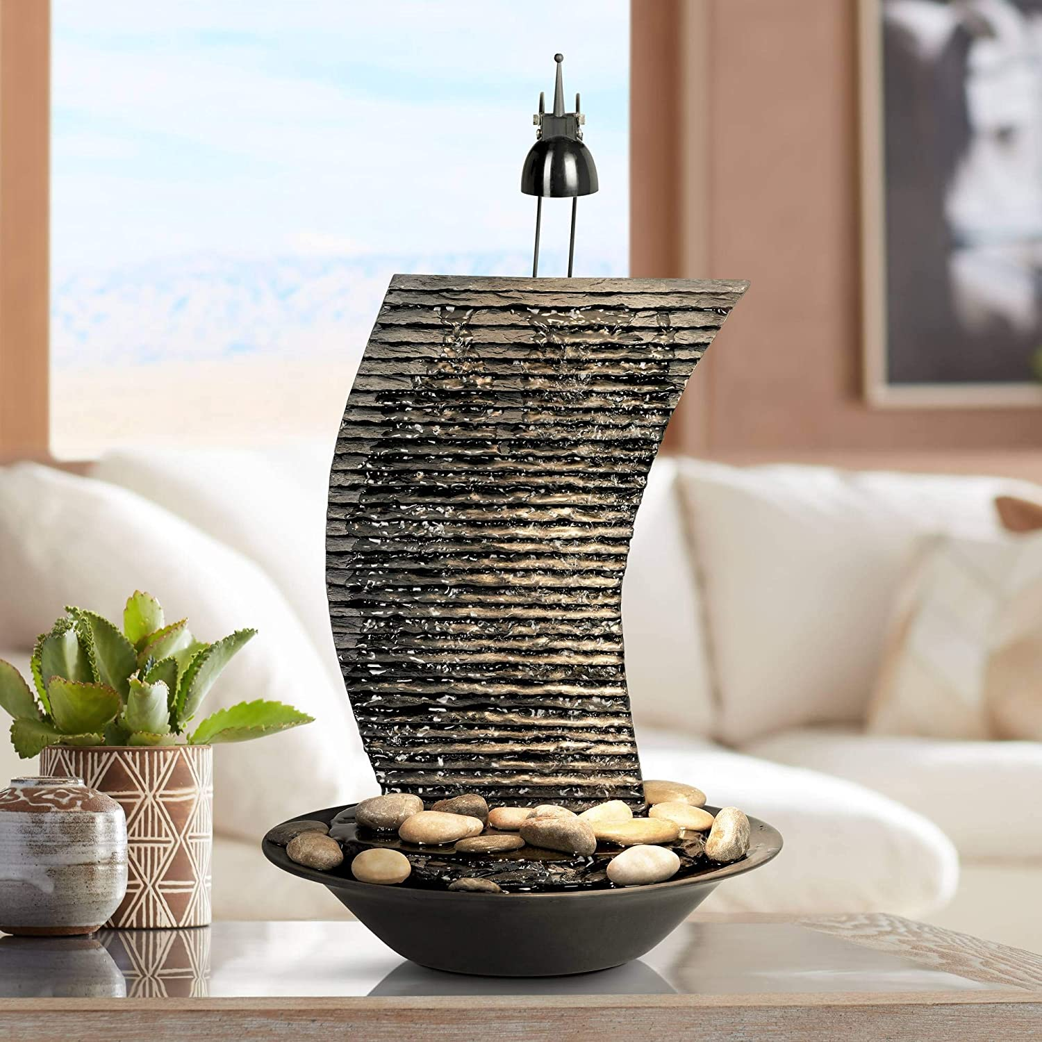 """Water Ripple Japanese Zen Indoor Table-Top Water Fountain with Light 100  10/10"""" High Waterfall for Table Desk Office Home Bedroom Relaxation - John"""